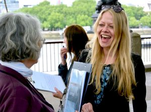 Sian Berry with Garden Bridge campaigners
